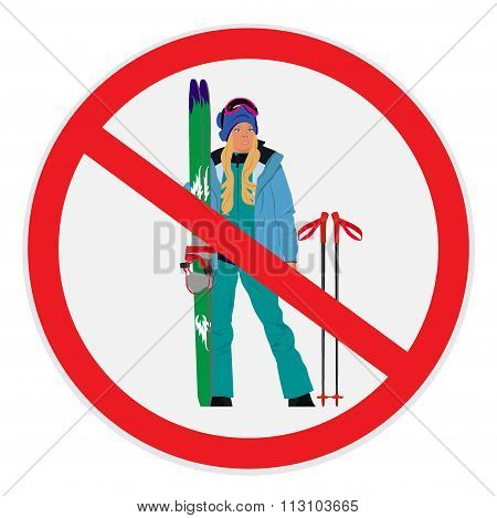 no skiing allowed sign, cute girl with ski, vector illustration