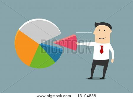 Businessman taking away a piece of market pie