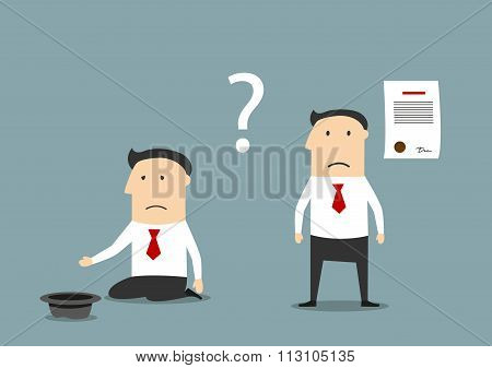 Bankrupt businessman between contract and poverty