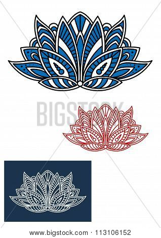Blue paisley flower with turkish ornament