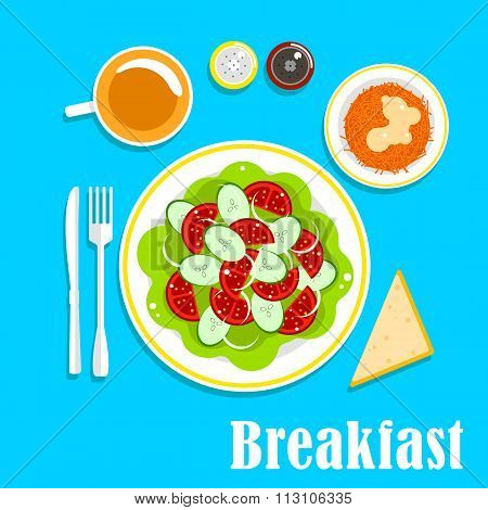 Vegetarian breakfast with salads and tea