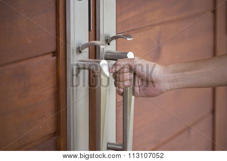 Hand Hold Handle Of Wood Door