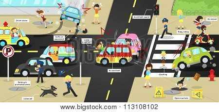 Infographic Accidents, Injuries, Danger And Safety Caution On Traffic Road Vehicles Cause By Cars Bi