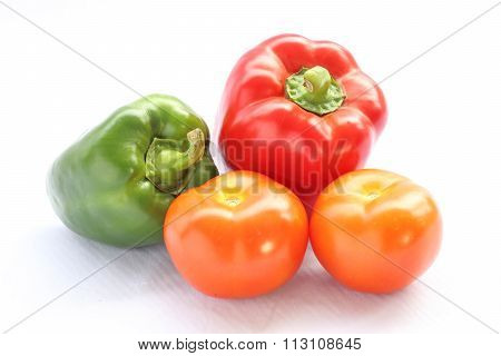Red Green Capsicum With Tomato