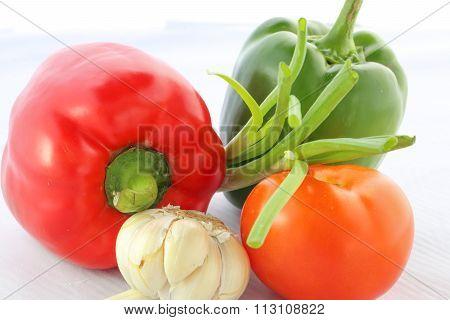 Tomato Bell Pepper Capsicum Spring Onion Garlic