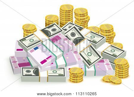 Money banknotes and coins. Money euro and dollars. Bundle of money