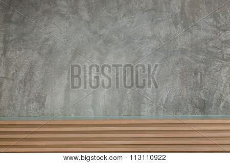 Cement Mortar Wall Texture With Wooden Headboard Of Bed Room