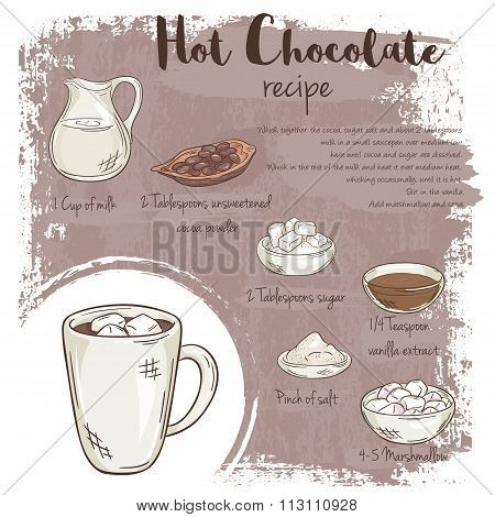 Vector Hand Drawn Illustration Of Hot Chocolate Recipe With List Of Ingredients