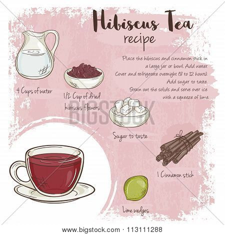 Vector Hand Drawn Illustration Of Hibiscus Tea Recipe With List Of Ingredients