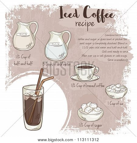 Vector Hand Drawn Illustration Of Iced Coffee Recipe With List Of Ingredients