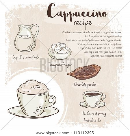 Vector Hand Drawn Illustration Of Cappuccino Recipe With List Of Ingredients