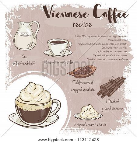 Vector Hand Drawn Illustration Of Viennese Coffee Recipe With List Of Ingredients