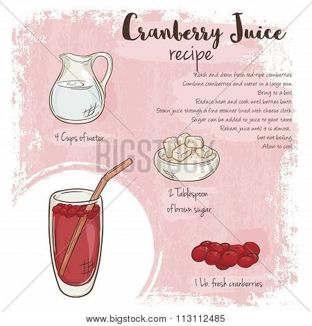 Vector Hand Drawn Illustration Of Cranberry Juice Recipe With List Of Ingredients
