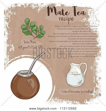Vector Hand Drawn Illustration Of Mate Tea Recipe With List Of Ingredients