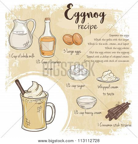 Vector Hand Drawn Illustration Of Eggnog Recipe With List Of Ingredients