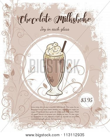 Vector Hand Drawn Illustration Of Drinks Menu Pages With Cup Of Chocolate Milkshake