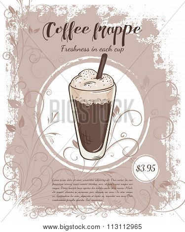 Vector Hand Drawn Illustration Of Drinks Menu Pages With Cup Of Coffee Frappe