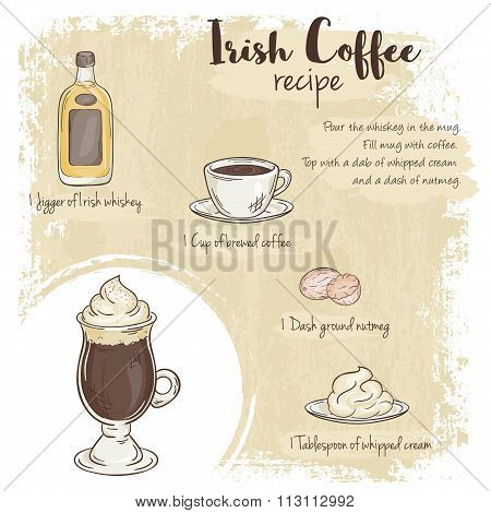 Vector Hand Drawn Illustration Of Irish Coffee Recipe With List Of Ingredients