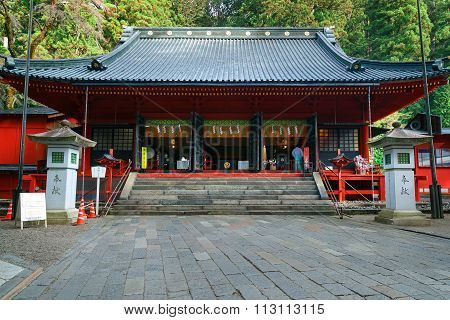 NIKKO JAPAN - NOVEMBER 17 2015: Nikko Futarasan shrine located between Tosho-gu shrine and Taiyu-in Mausoleum in the