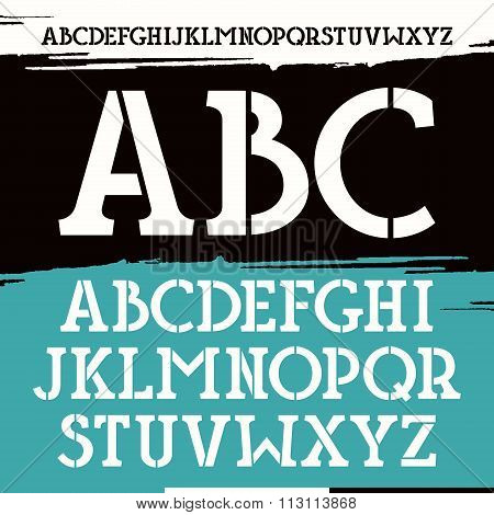 Slab Serif Stencil-plate Font