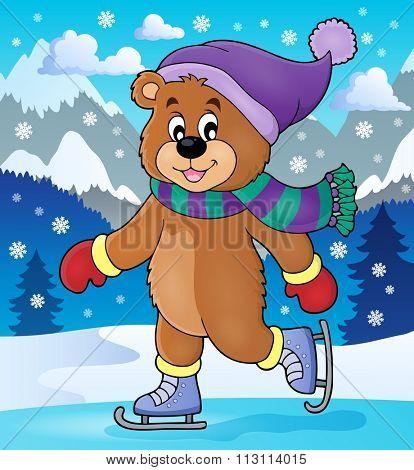 Ice skating bear theme image 2 - eps10 vector illustration.
