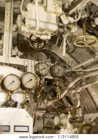 Detailed View Of Many Manometers Inside Of Submarine.
