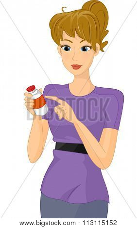 Illustration of a Girl Checking the Contents of the Medicine Label