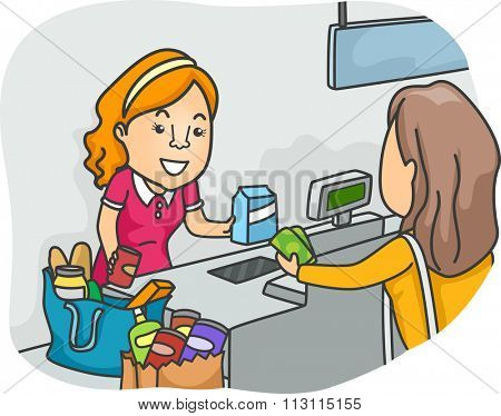 Illustration of a Shopper Standing in Front of a Cashier