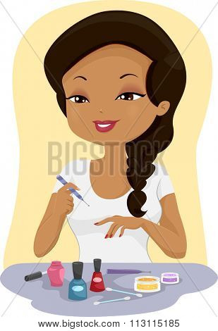 Illustration of a Girl Painting Her Finger Nails