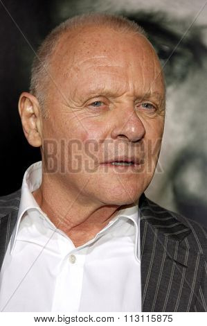 HOLLYWOOD, CALIFORNIA - January 26, 2010. Sir Anthony Hopkins at the Los Angeles premiere of