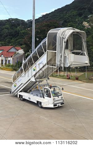 Ladder of aircraft at the Seychelles International Airport on Mahe Island.