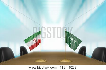 Iran and Saudi Arabia relations and trade deal talks 3D rendering