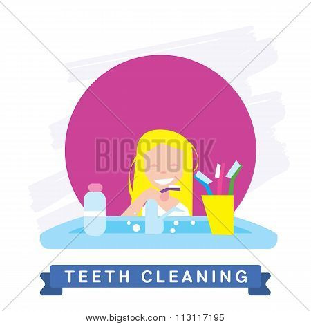 Girl cleaning teeth. Beautiful white teeth smile.