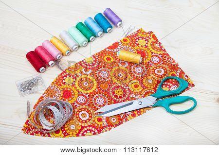 Fabric, Scissors, Thread, Centimeter, Spool Of Thread