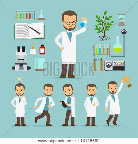 Scientist with laboratory equipment icons