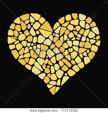 Gold Heart in mosaic style