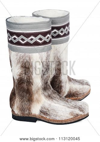High Fur Boots On A White Background