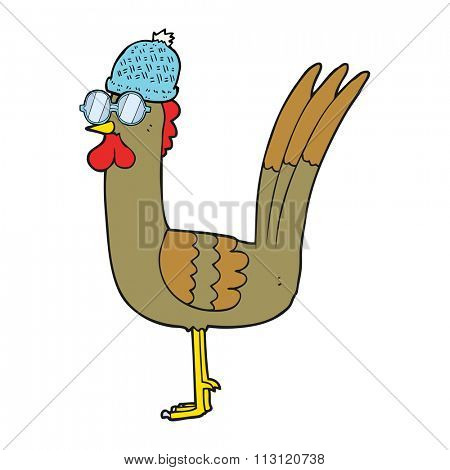 freehand drawn cartoon chicken wearing spectacles and hat