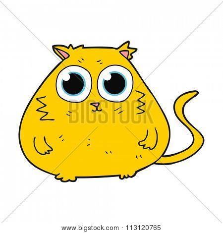 freehand drawn cartoon cat with big pretty eyes