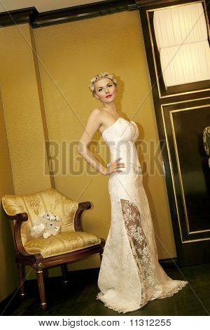 Beauty Young Bride Dressed In Elegance White Wedding Dress