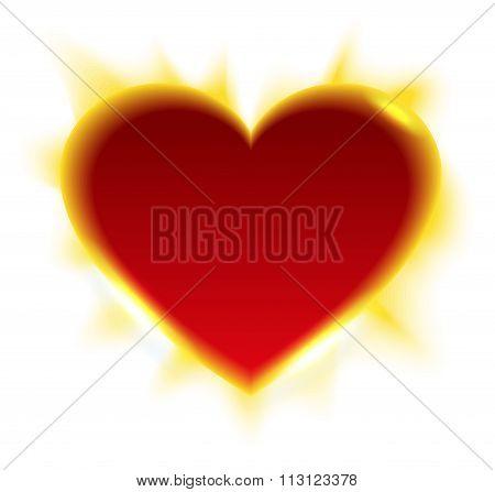 Fiery heart. Heart shape of sun