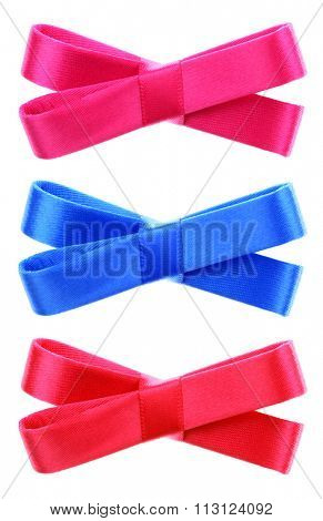 Three decorative ribbon bow ties pink red turquoise blue