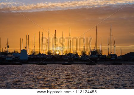 Sunset Over Yacht Harbor