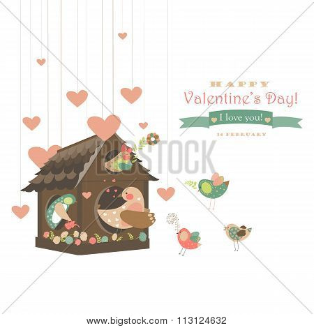 Birds in love and bird house