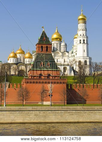 Assuption and Archangel cathedrals and bell tower Ivan the Great inside Moscow Kremlin Moscow.