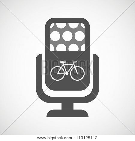 Isolated Microphone Icon With A Bicycle