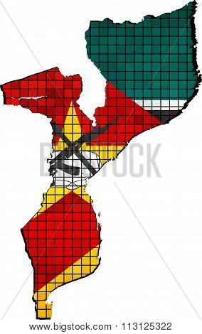 Mozambique Map With Flag Inside.eps