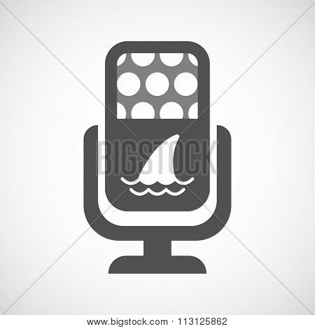 Isolated Microphone Icon With A Shark Fin
