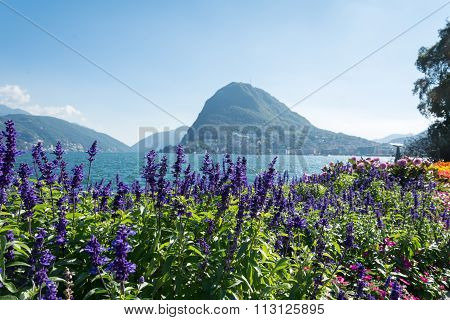 View Of Mount St. Salvatore And Lake Of Lugano From Park Ciani
