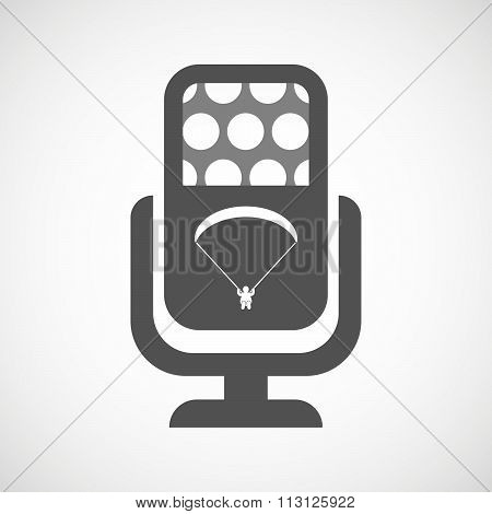 Isolated Microphone Icon With A Paraglider